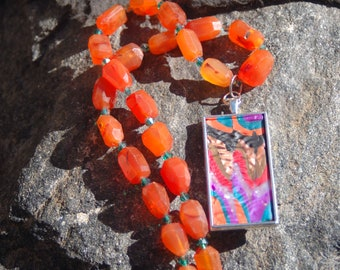 "Sale -  Multicolored Clay Pendant and Carnelian Chain Necklace - ""Once Upon a Song"""