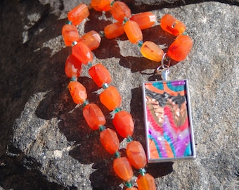 "Multicolored Pendant and Carnelian Chain Necklace - ""Once Upon a Song"""