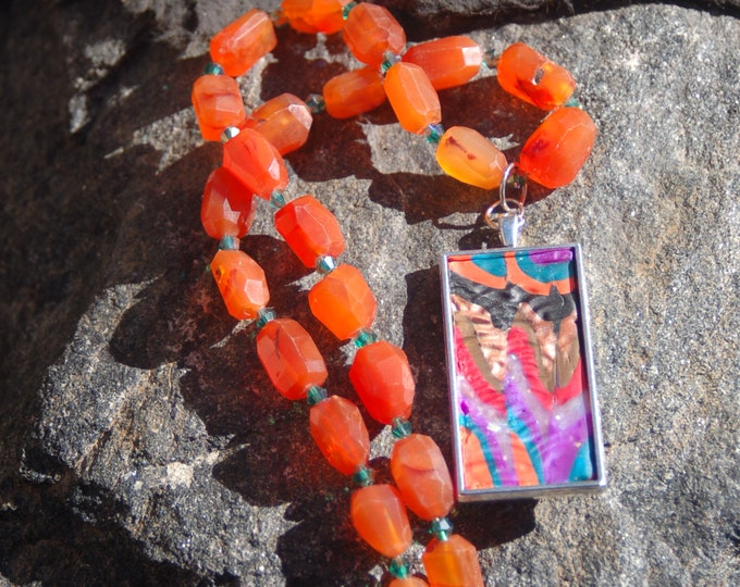 "Multicolored Clay Pendant and Carnelian Chain Necklace - ""Once Upon a Song"""