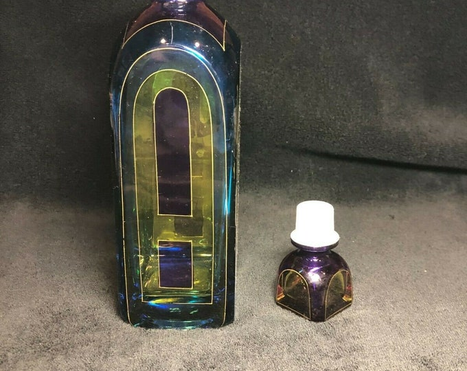 Vintage Bicchielli Art Glass Decanter in Stained Glass Design 11 1/2 Tall
