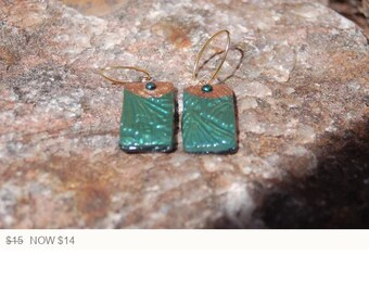 Sale -  Contemporary Polymer Clay Earrings, Dangle Earrings, Green and Gold Polymer Clay Earrings, Artisan Earrings, Statement Jewelry