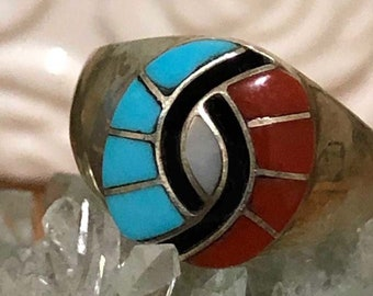 Amy Quandelacy Turquoise and Coral Hummingbird Eye Ring Sz 10.5