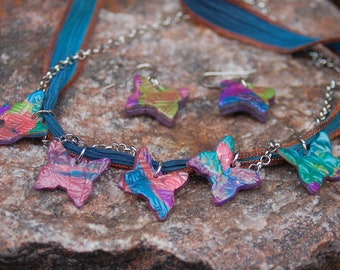 "Polymer Clay and Ribbon Choker - Butterfly Choker - ""Krystina's Journey"""