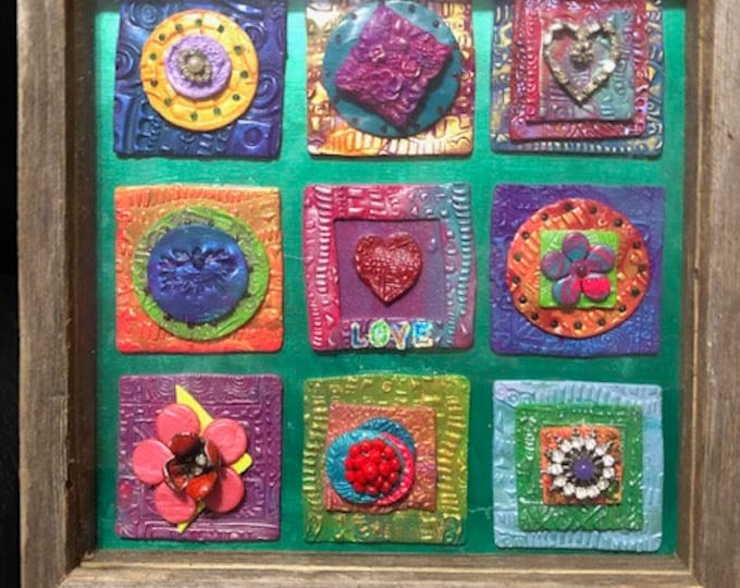 Polymer Clay Multimedia Quilt Wall Hanging