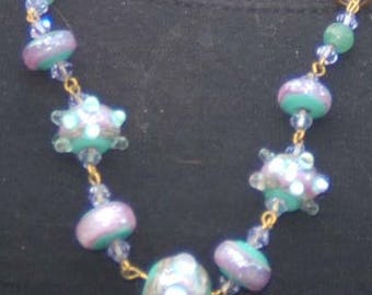"Designer Lampwork Beaded Necklace, Lampwork Amethyst and Jade Necklace, ""Perfect Spice"""