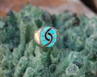 Amy Quandelacy Turquoise Ring - Signed Vintage Zuni Ring