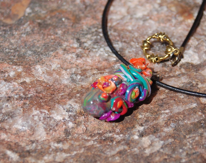 "Polymer Clay Floral Pendant Necklace - ""Sprouts"""