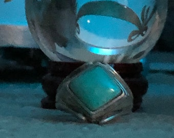 Vintage Southwestern Ted Ott Green Turquoise and Sterling Silver Ring Size 6