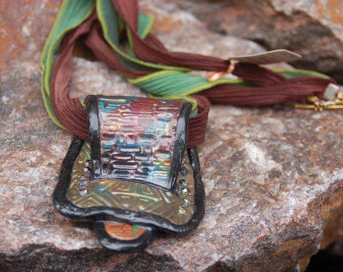 "Polymer Clay Buckle Necklace, ""The Loop"""