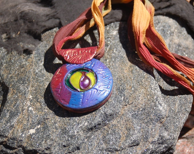 "Polymer Clay Pendant Necklace, ""Stained Glass"""
