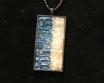 Handmade Blue and White Pendant with a Faceted Hematite Chain