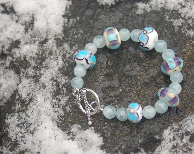 "Lampwork and Aquamarine Bracelet, ""Darla's Dream"""