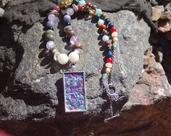 "Sale -  Multigem Polymer Clay Necklace - Gemstone Necklace - ""Ice Candy"""