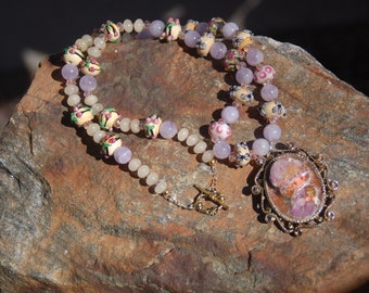 """Sale -  Lampwork Amethyst and Honeystone Vintage Holly Hobbie Pendant Necklace - """"The Sophisticated Holly"""""""