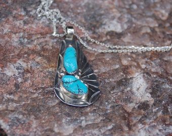 Sale -  Vintage Navajo Signed Laura Dabbs Turquoise Necklace - Navajo Sterling Silver Turquoise Pendant