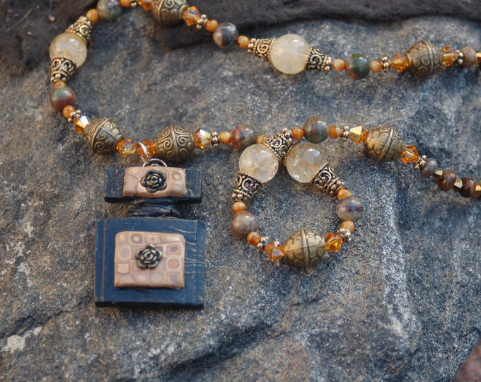 """Featured listing image: Citrine Brass and Polymer Clay Pendant, Citrine and Brass Necklace, Beaded Necklace, Pendant Necklace, """"An Angel's Riddle"""""""