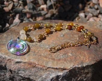 """Sale -  Golden Glass Circle Pendant Necklace, Citrine and Fire Agate Beaded Necklace, """"The Lunar Prayer"""""""