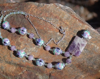 """Sale -  Dragonfly Lampwork Beaded Necklace, Amethyst and Lampwork Necklace, """"The Loyal Dragonfly"""""""
