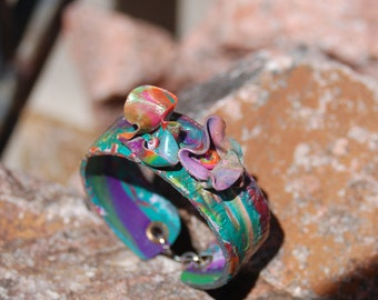"""Polymer Clay Bracelet - """"Morning Blossoms"""""""