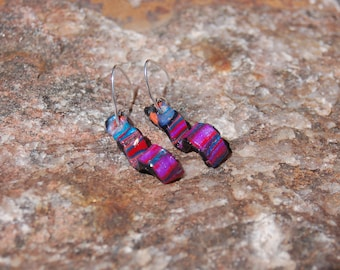 Contemporary Polymer Clay Earrings, Dangle Earrings, Jewel Tones Polymer Clay, Artisan Earrings, Statement Jewelry