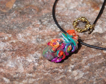 """Polymer Clay Pendant Necklace - """"Sprouts"""""""