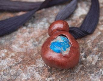 "Unisex Cavansite Crystal Encased in Clay on Ribbon Necklace - ""Flowing Love"""