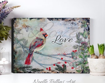 Cardinal canvas wall art prints choice of 4 designs prints with message of love joy peace hope or nature birds no words winter inspiration