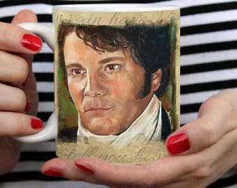 Mr Darcy coffee mug- Colin Firth Coffee tea mug - pride and prejudice bbc jane austen fitzwilliam darcy cheese gift for p and p fan