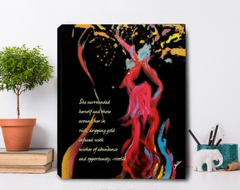 powerful women helping women dripping gold canvas print uplifting artwork for ladies entrepreneurs office business woman owned successful
