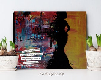 Crossroads - Sophistication artwork print of woman silhouette with her head held high job change divorce break up cancer canvas print