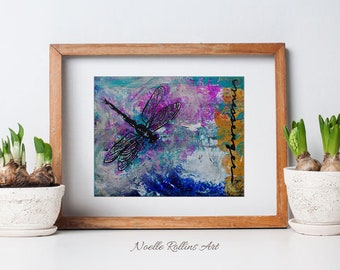 Dragonfly art print ready to frame boho design inspiration and boho decor natural for nature inspired and soulful art lovers