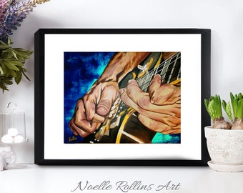 Dancing Hands electric guitar art print artwork for musician or music decor artwork print musician guitarist wall art matted print decor