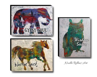 boho bold abstract silhouette art nature bohemian decor equine art colorful heartland canvas elephant gypsy warrior spirit wisdom owl decor