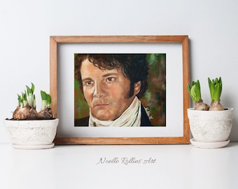 Mr Darcy from Pride and Prejudice romantic fun gift Jane Austen canvas print up to 16x20 colin firth portrait olde english films