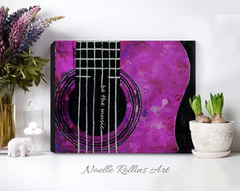 Be the Music guitar artwork pink or blue canvas prints in 8x10 12x16 18x24 colors wall art for music room gift music artwork musical decor