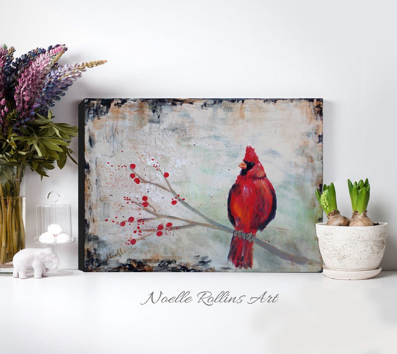 Cardinal protector wall art canvas red cardinal print 8x10 image 0