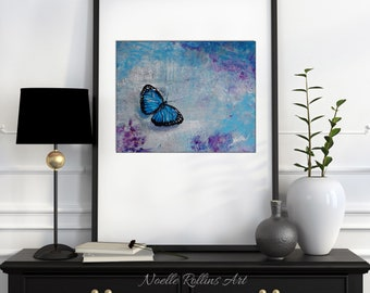 Butterfly Print - choice of 5 designs matted into monarch or blue butterfly matted print memory remembrance with butterfly quotes garden