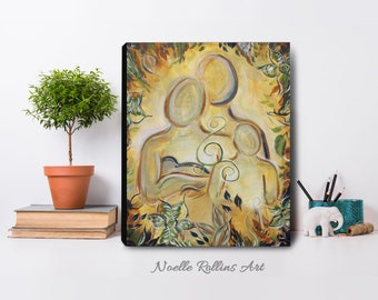 Together Family - artwork canvas print family energy with kids for home wall art print or chiropractic doula health office decor
