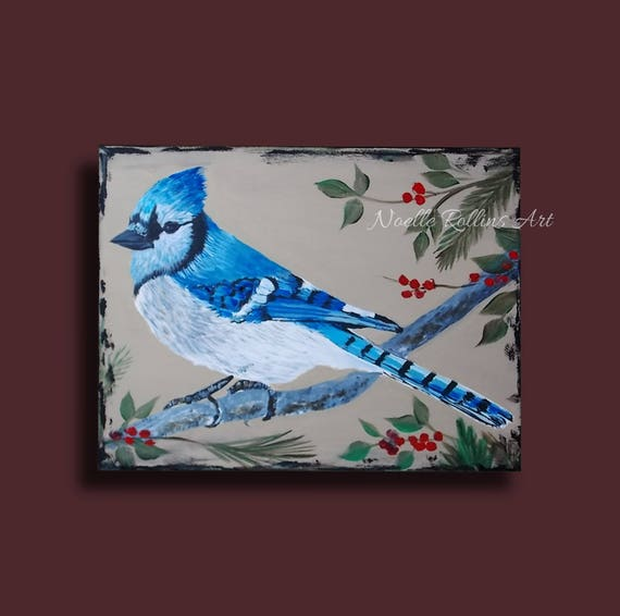 Blue Jay Original Artwork Featuring Berries Leaves And Etsy