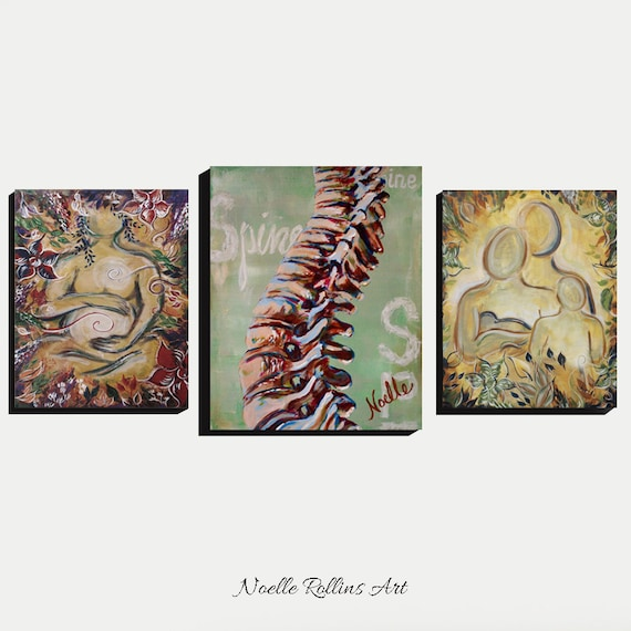 Chiropractic artwork trio wall art set of 3 prints for office | Etsy
