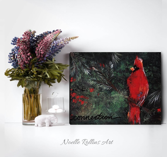Cardinal Connection Canvas Print Wall Art Featuring Red Etsy