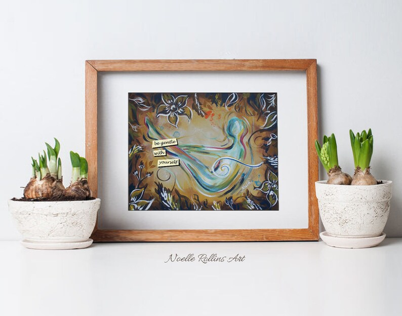 Be Gentle with yourself yoga art Soulful Yoga Boat Pose  image 0