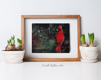 Cardinal connection print matted wall art featuring red cardinal messenger from spirit birds meaning of seeing cardinals symbolism