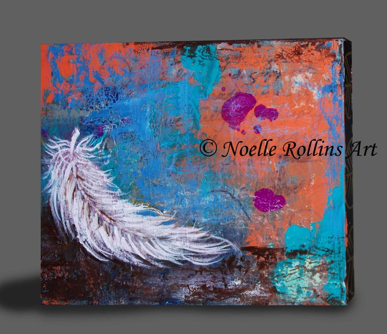 White Feather original wall artwork decor image 0