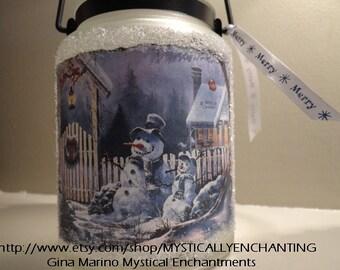 Christmas Lantern luminary Snowman