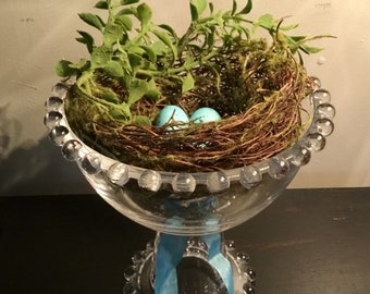 Vintage Glass Candy Dish with Bird nest and Robins eggs