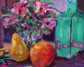 interior decor - Still Life with Pear and Orange - giclée print - living room - wall art