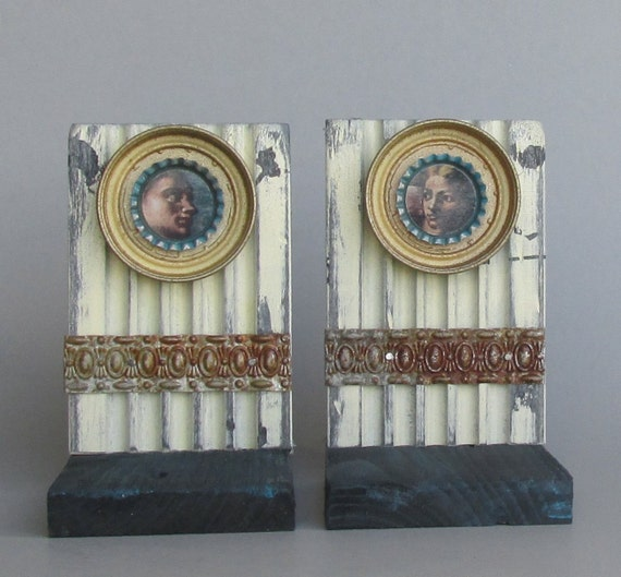 Bookends Vintage Home Decor Fresco Recycled Materials