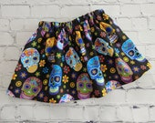 Girls Day of the Dead Skirt, All Hallows Day, Sugar Skull Outfit, Skirt with Skulls,Toddler Sugar Skull