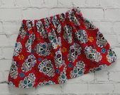 Girls Red Day of the Dead Skirt, All Hallows Day, Hispanic Celebration, Sugar Skull Outfit, Skirt with Skulls, Girl Skulls